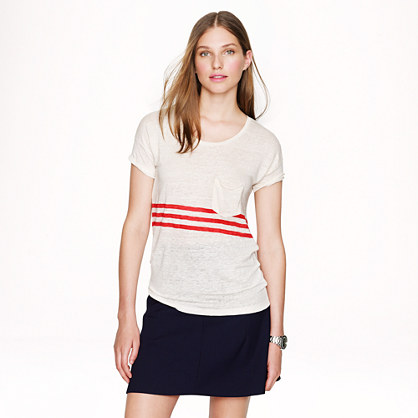 Linen T-shirt in triple stripe