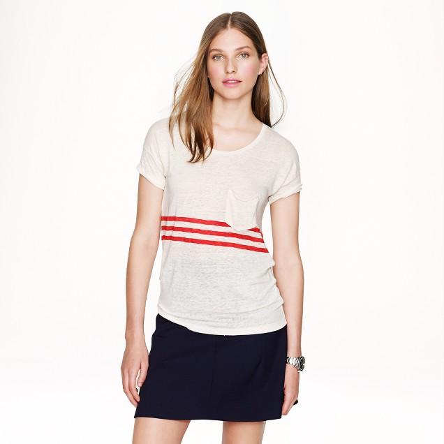 Linen T-shirt in triple stripe