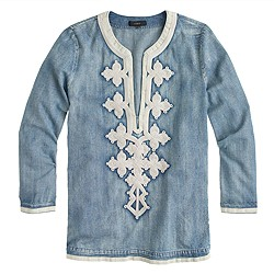 Petite embroidered tunic in chambray