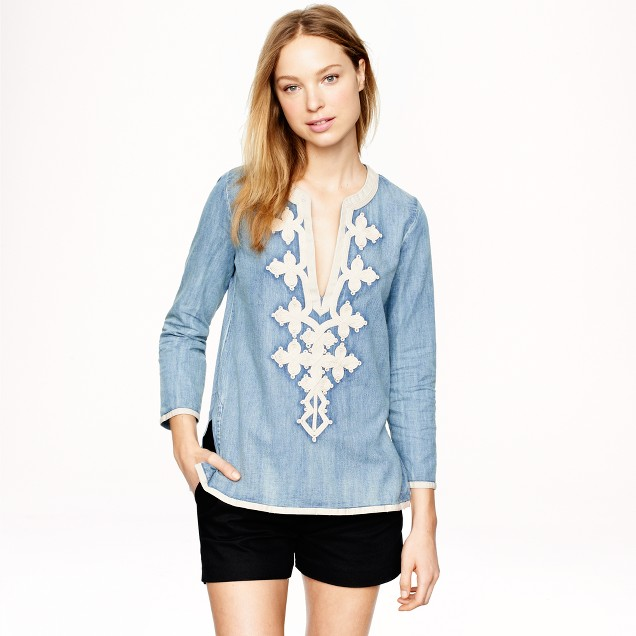 Embroidered tunic in chambray