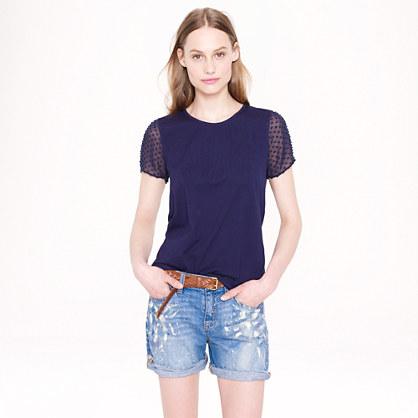 Chiffon-sleeve T-shirt