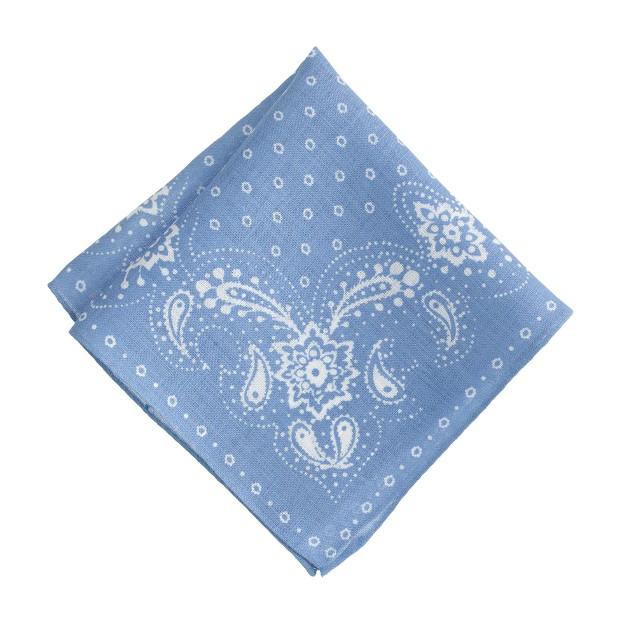 Italian linen pocket square in blue bandana print