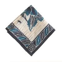 Linen pocket square in ultramarine bandana print