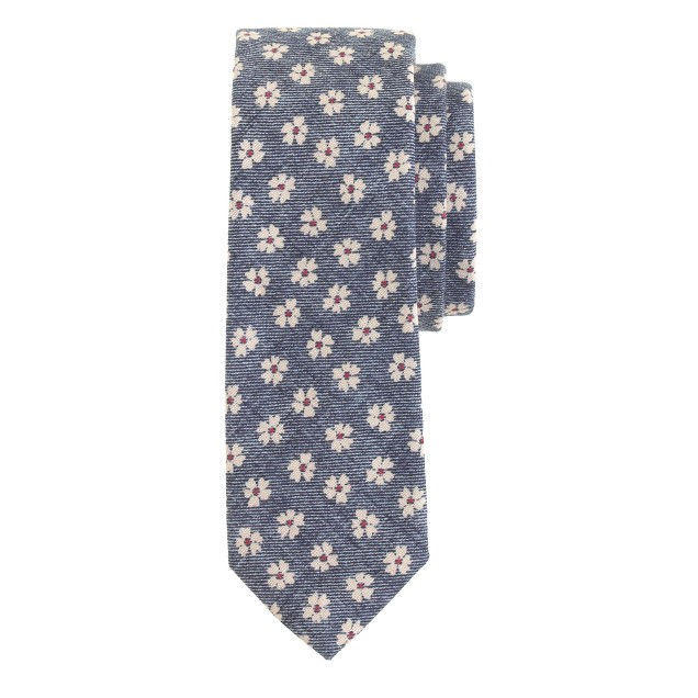 Cotton tie in ultramarine floral