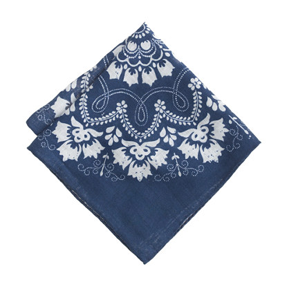 Italian cotton pocket square in bandana print