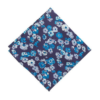Cotton pocket square in garden floral