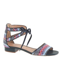 Collection woven raffia tie-front sandals