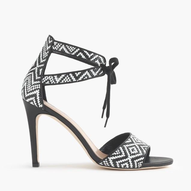 Collection woven raffia tie-front high-heel sandals