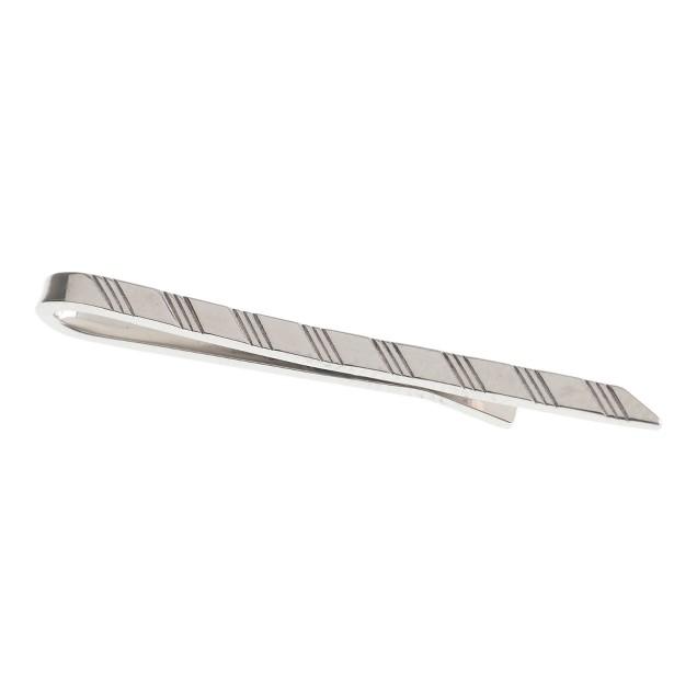 Sterling-silver stripe tie bar