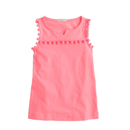 Girls' garment-dyed pom-pom tank