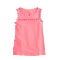 Girls' garment-dyed pom-pom tank