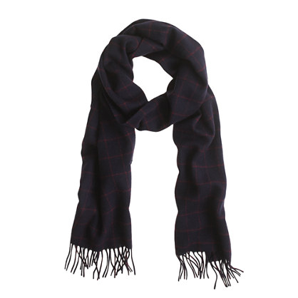 The Merchant Fox windowpane cashmere scarf