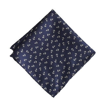 Boys' silk pocket square in anchor print