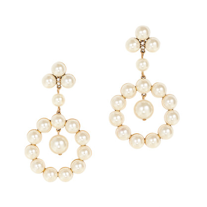 Pearl circle drop earrings