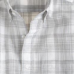 Secret Wash shirt in heather grey plaid