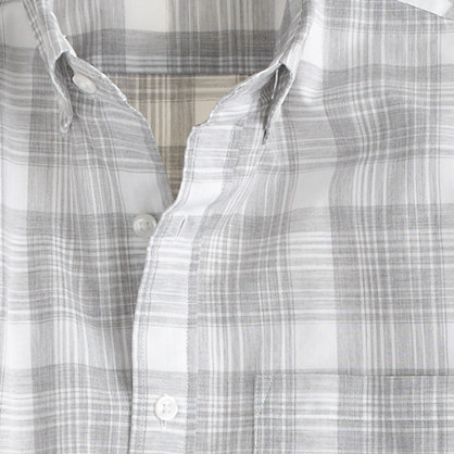 Secret Wash shirt in heather grey plaid