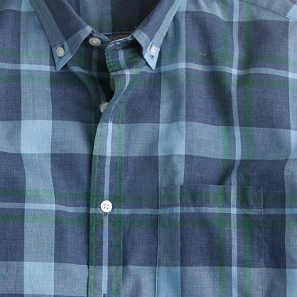 Secret Wash shirt in heather blue plaid