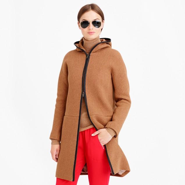 Petite stadium-cloth hooded zip coat