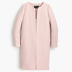 Petite double-cloth collarless coat