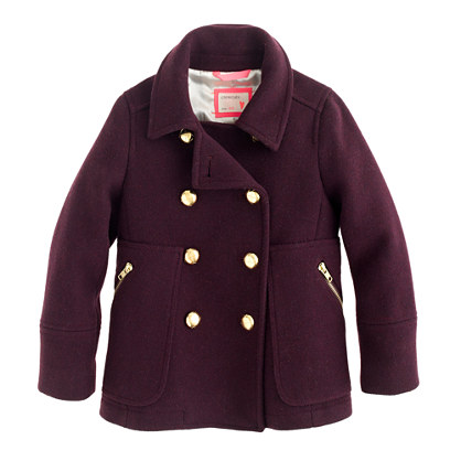 Girls' stadium-cloth peacoat
