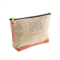 Suolo™ canvas and leather pouch