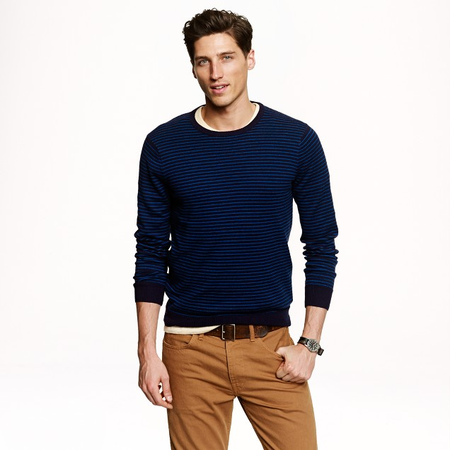 Cotton-cashmere sweater in microstripe