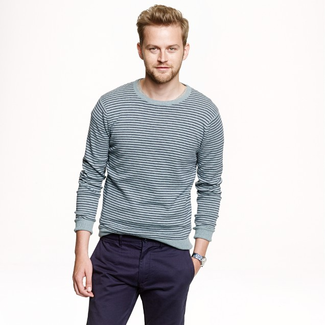 Slim cotton-cashmere sweater in microstripe