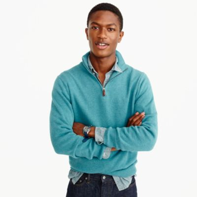 Slim cotton-cashmere half-zip sweater