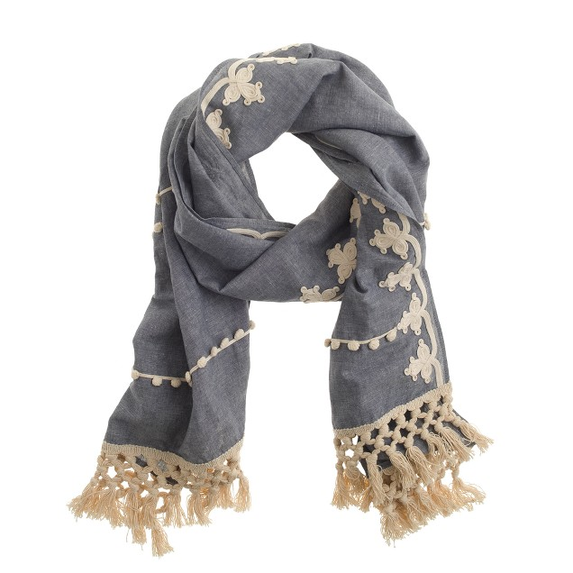 Embellished chambray scarf