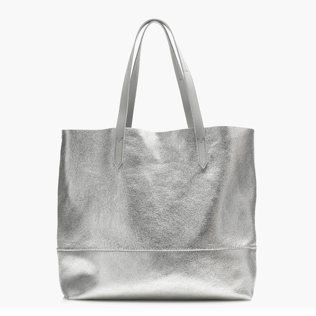 Downing tote in metallic leather