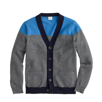 Boys' tipped cotton-cashmere cardigan sweater in colorblock