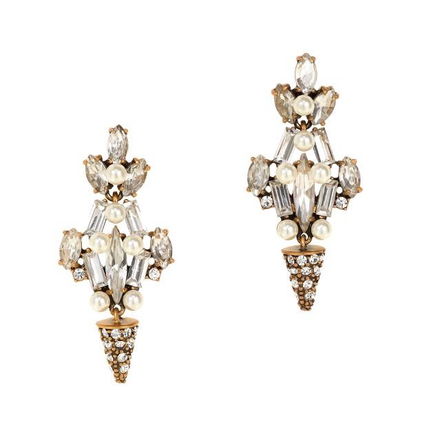Crystal and pearl chandelier earrings