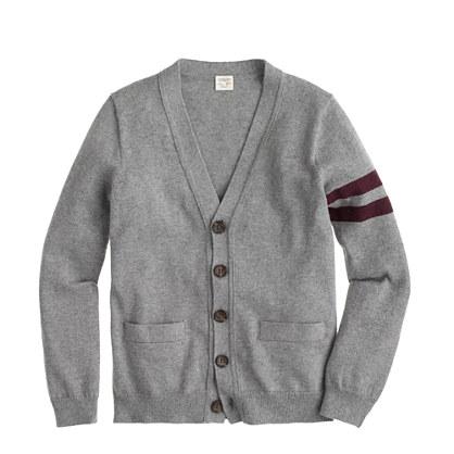 Boys' cotton-cashmere cardigan sweater in academy stripe