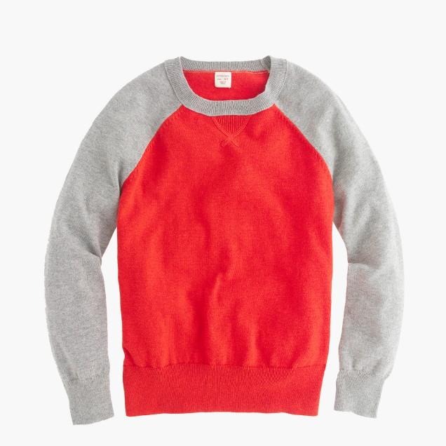 Boys' cotton-cashmere baseball sweatshirt