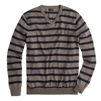Merino wool V-neck sweater in side stripe