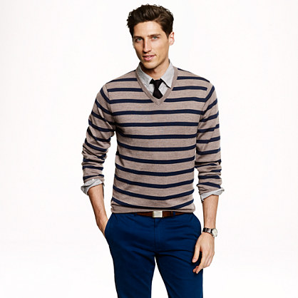 Tall merino wool V-neck sweater in side stripe