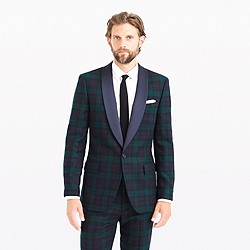 Ludlow shawl-collar tuxedo jacket in Black Watch English wool