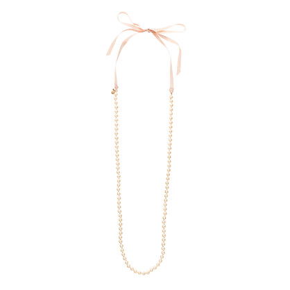 Pearl ribbon tie necklace necklaces j crew for Ribbon tie necklace jewelry