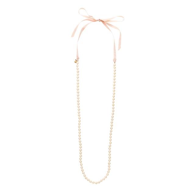 Pearl ribbon-tie necklace