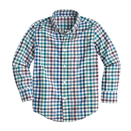 Boys' Secret Wash shirt in multi-gingham