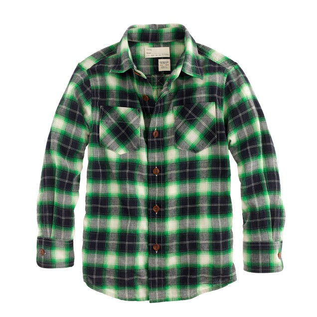 Boys' twill shirt in camp plaid