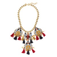 Tassel trim statement necklace