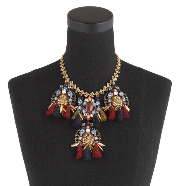 Tassel trim statement necklace