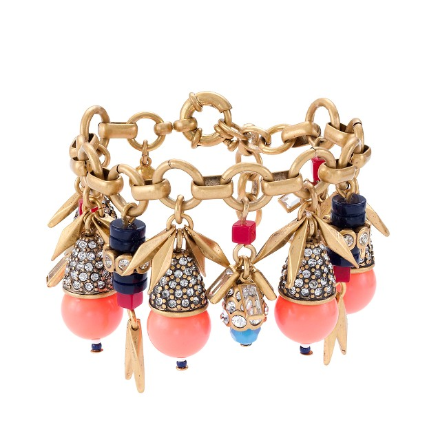 Jeweled color burst charm bracelet