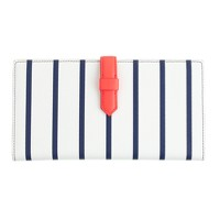 Stripe leather travel wallet