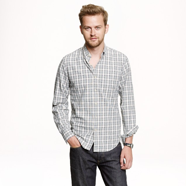 Slim jaspé cotton shirt in plaid
