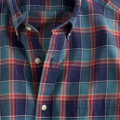 Secret Wash shirt in heather deep sea plaid