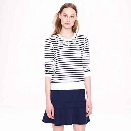 Jeweled sweatshirt in stripe
