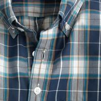 Secret Wash long-sleeve popover shirt in oxbow blue tartan