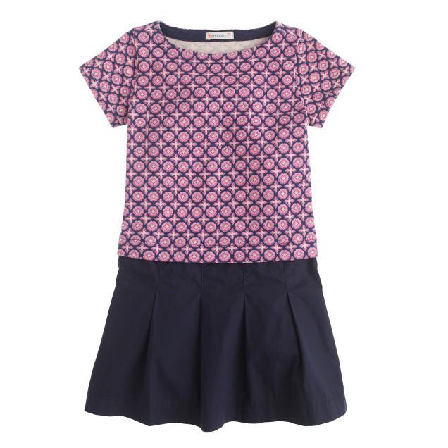 Girls' knit plum foulard dress